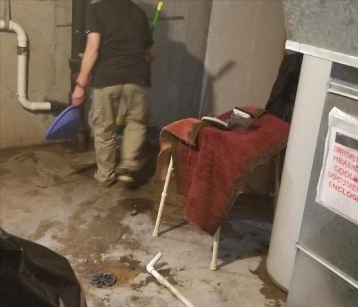 Cleaning a sewage back up